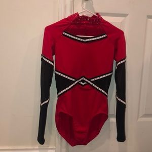 Red and Black Leotard Mesh Dance Costume MA